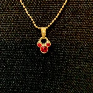 Small mouse ear necklace in red stones